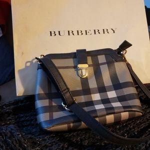 Burberry brown plaid handbag